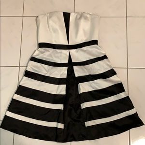 Max and Cleo Black and White Strapless Dress